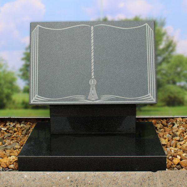 Grey Granite Engraved Book Memorial