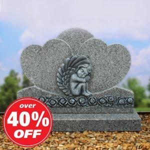 Grey Granite Double Heart Memorial with Cherub