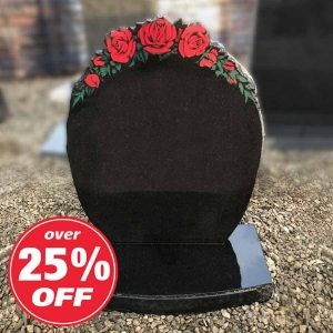Black Granite Oval Lawn Memorial with Rose Design