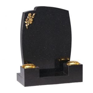 Star Galaxy Granite Lawn Memorial with Flower Vases
