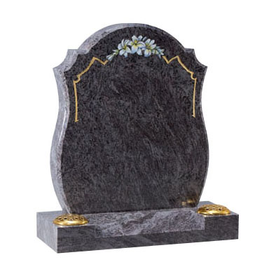 Bahama Blue Granite Lawn Memorial with Two Flower Vases