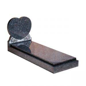 Blue Pearl Granite Heart Memorial with Kerb Set
