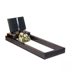 Dark Grey Granite Book Memorial with Kerb Set