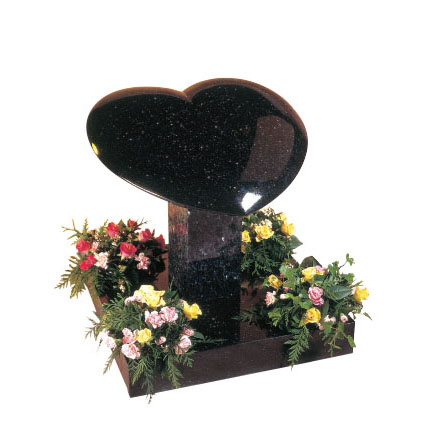 Star Galaxy Granite Heart Memorial with Flower Vases