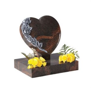 Teak Granite Heart Memorial Headstone