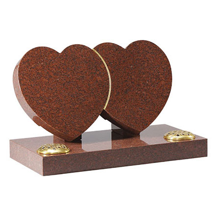 Ruby Red Granite Heart Memorial with Flower Vases