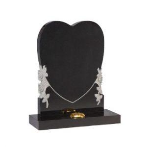 Black Granite Heart Memorial with Rose Design