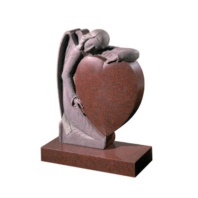 Ruby Red Granite Headstone with Angel and Heart