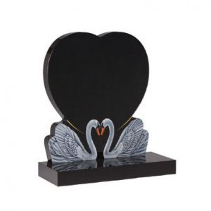 Black Granite Heart Headstone with Double Swans