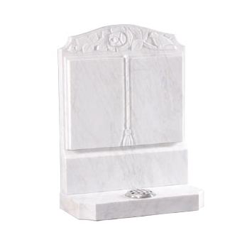 White Marble Carved Book Memorial