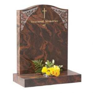 Twilight Red Granite Ogee Headstone with Rose Design