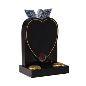 Black Granite Heart Headstone with Angel