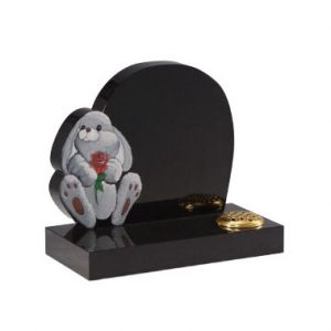 Black Granite Children's Memorial with Rabbit Design