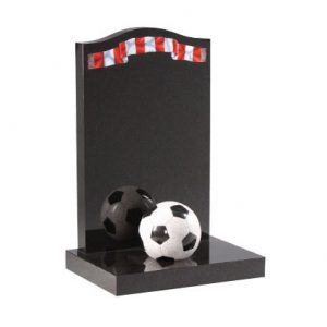Black Granite Children's Football Headstone