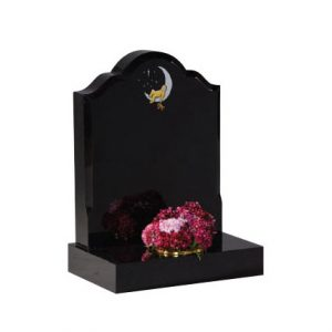 Black Granite Children's Memorial with 'Baby in Moon' Design