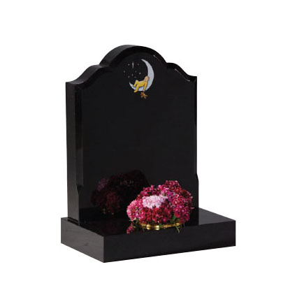 Black Granite Children's Memorial with 'Baby in Moon' Design