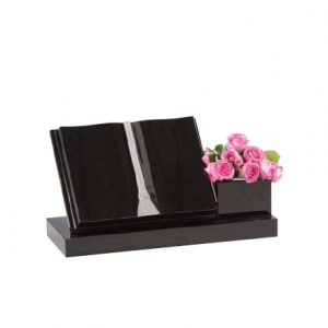 Black Granite Book Memorial with Flower Vase