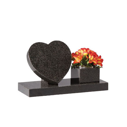 Dark Grey Granite Heart Memorial on Riser