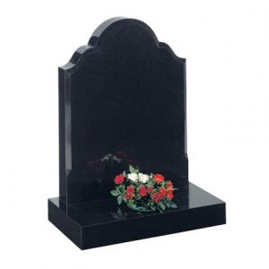 Black Granite Memorial with Curved Top