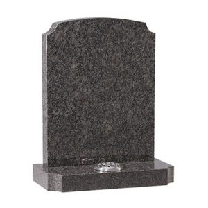Medium Grey Granite Headstone with Memorial Vase