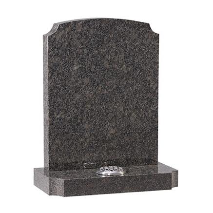 Medium Grey Granite Headstone with Memorial Vase