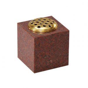 Ruby Red Granite Square Memorial Vase with Stem Lid