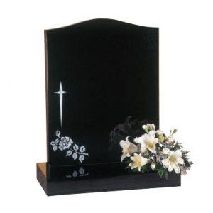 Black Ogee Lawn Memorial with Rose and Star Design