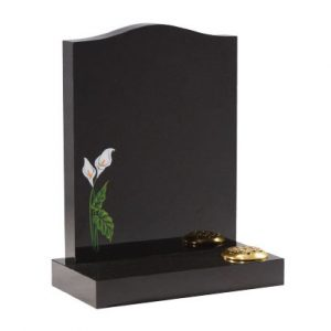Black Granite Ogee Lawn Memorial with Lily