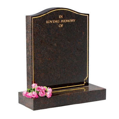 Red Granite Ogee Lawn Memorial with Gilded Border