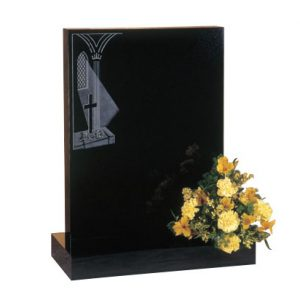 Black Granite Lawn Memorial with Etched Window