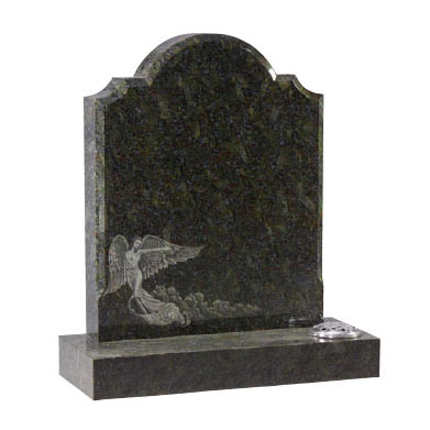 Emerald Pearl Granite Headstone with Angel
