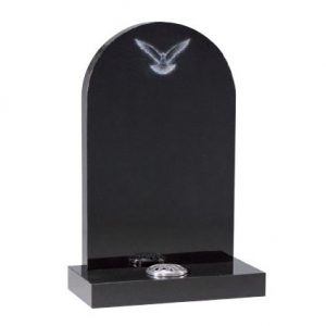 Black Granite Arch Top Headstone with Dove