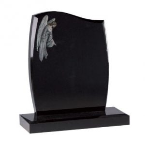 Black Granite Lawn Memorial with Angel Design