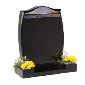 Black Granite Lawn Memorial with 'Morning by the Lake'