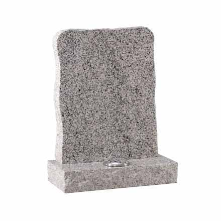 Light Grey Granite Lawn Memorial with Flower Vase