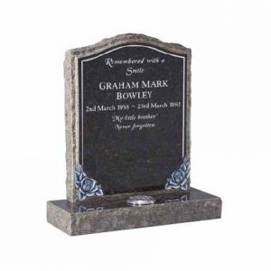 Blue Pearl Granite Ogee Memorial with Pitched Edges