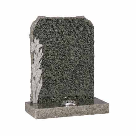 Ocean Green Granite Lawn Memorial with Carved Daffodil