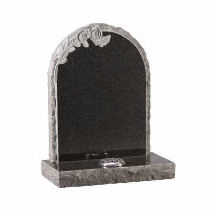 Grey Granite Arch Top Lawn Memorial with Pitched Edges