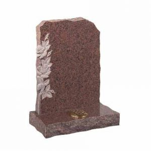 Balmoral Red Granite Lawn Memorial with Carved Daffodils