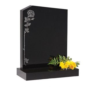 Black Granite Headstone with Climbing Rose Design