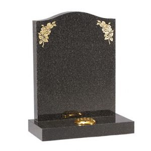 Dark Grey Granite Ogee Lawn Memorial with Roses