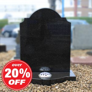 Polished Black Granite Colby Headstone