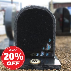 Black Rustic Headstone with Painted Butterfly Design