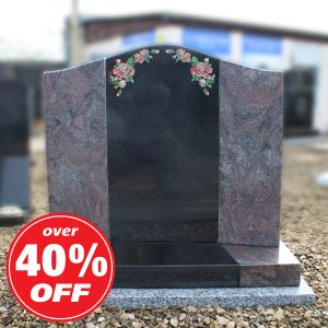 Black and Pink Granite Lawn Memorial with Rose Design