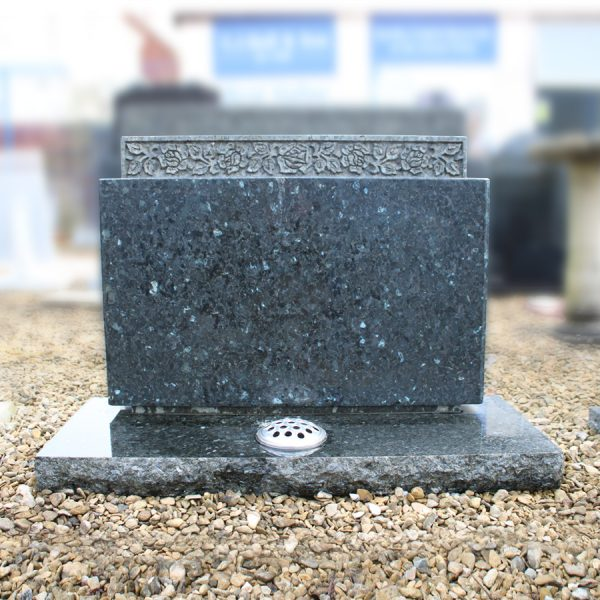 Emerald Pearl Granite Headstone with Engraved Roses