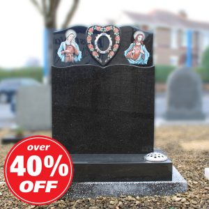 Sacred Heart Black Granite Headstone