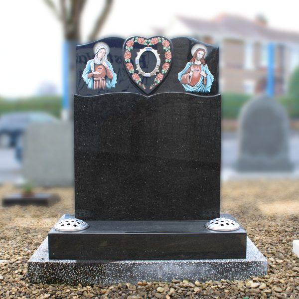 Sacred Heart Black Granite Headstone