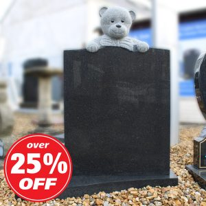 Dark Grey Children's Memorial with Carved Teddy Bear