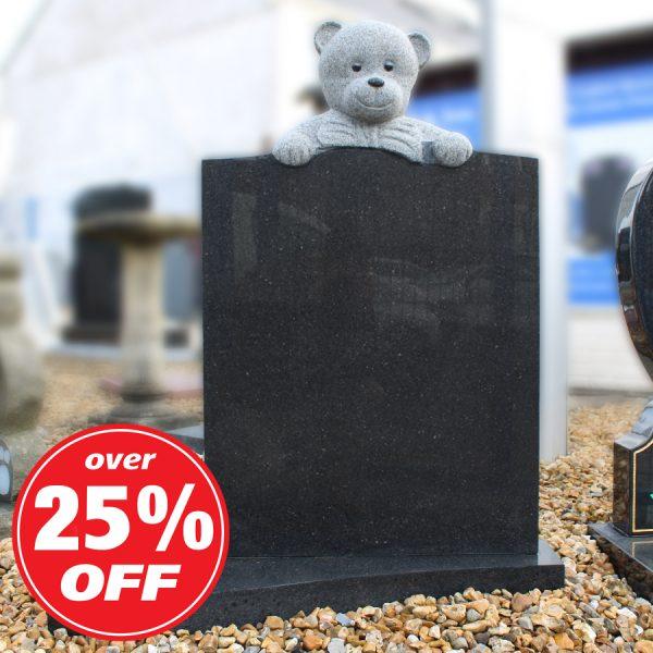 Dark Grey Children's Memorial with Carved Teddy Bear