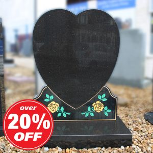 Black Granite Heart Memorial with Roses